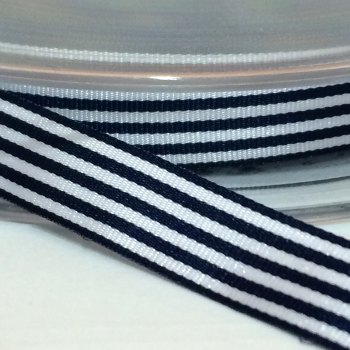 9mm Pencil Stripe Ribbon - Navy
