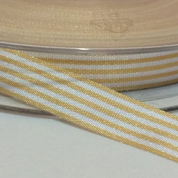 9mm Pencil Stripe Ribbon - Pale Gold