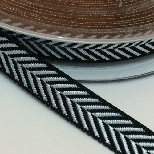10mm Herringbone Ribbon - Black