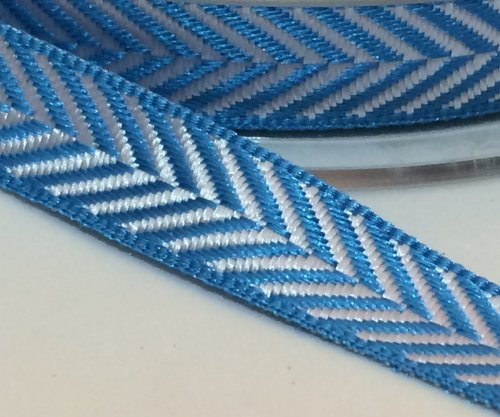 10mm Herringbone Ribbon - Blue