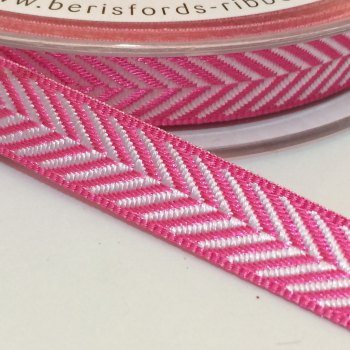 10mm Herringbone Ribbon - Bright Pink