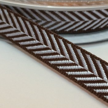 10mm Herringbone Ribbon - Brown