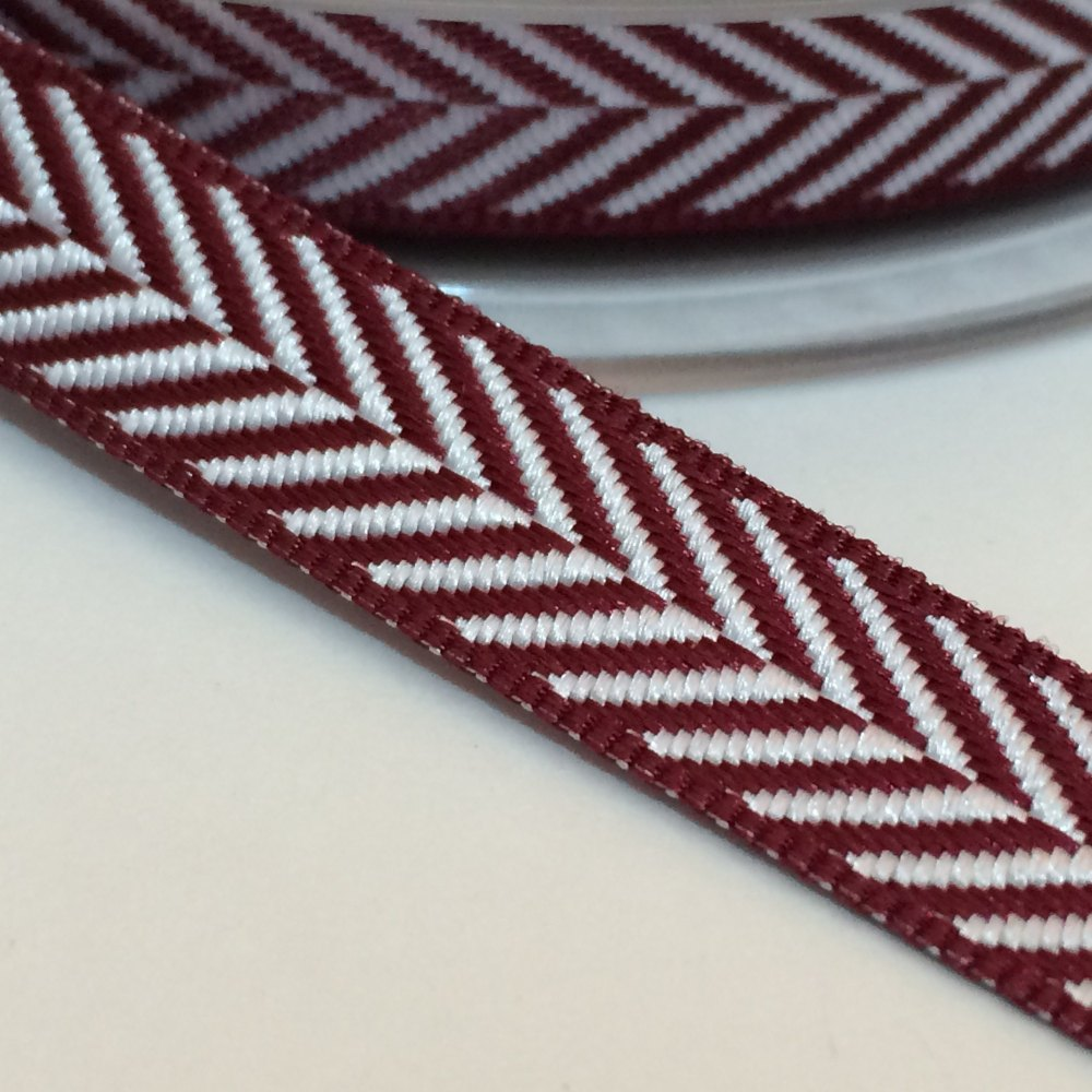 10mm Herringbone Ribbon - Claret