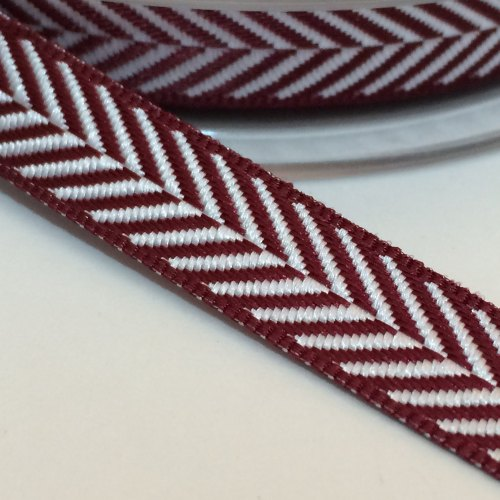 10mm Herringbone Ribbon - Claret