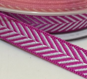 10mm Herringbone Ribbon - Fuchsia