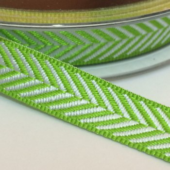 10mm Herringbone Ribbon - Lime