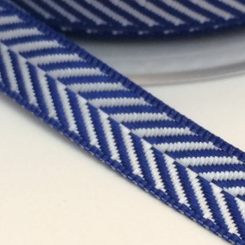 10mm Herringbone Ribbon - Navy