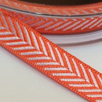 10mm Herringbone Ribbon - Orange
