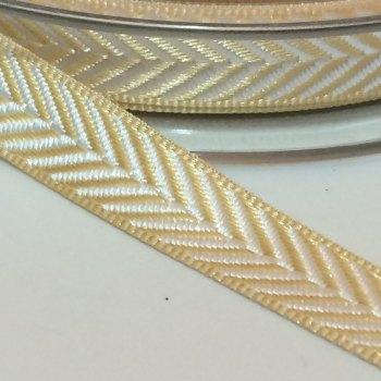 10mm Herringbone Ribbon - Pale Gold