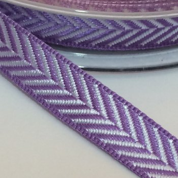 10mm Herringbone Ribbon - Purple