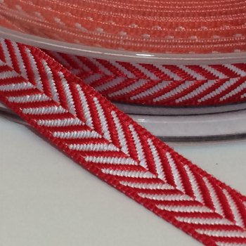 10mm Herringbone Ribbon - Red