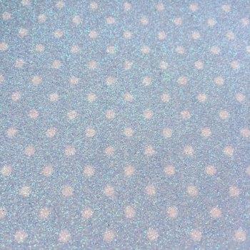 Dotty Polka Dot Glitter Fabric Sheet - Pastel Blue