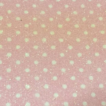 Fine Polka Dot Glitter Fabric Sheet - Pastel Pink