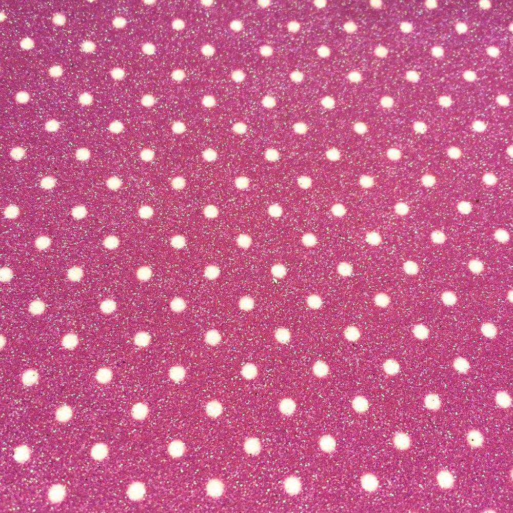 Fine Polka Dot Glitter Fabric Sheet - Pink