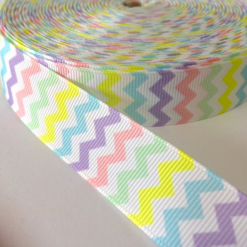 22mm Chevron Grosgrain Ribbon - Pastel