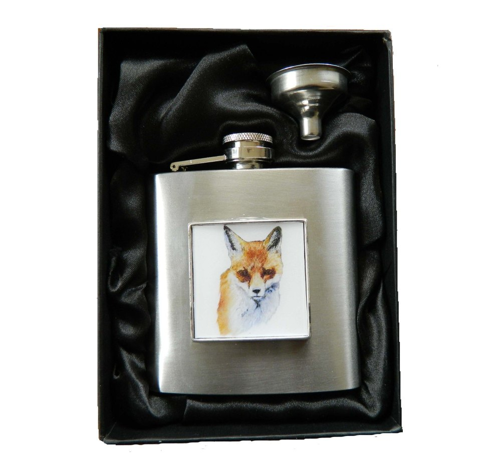 Fox head Hip Flask