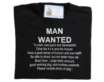 Man Wanted -- shooting t shirt