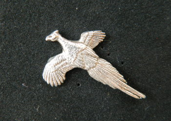 Flying pheasant pewter pin badge