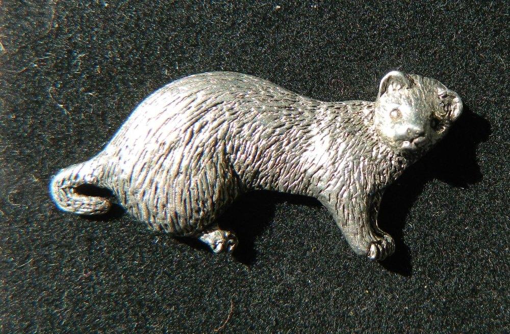 Ferret pewter pin badge
