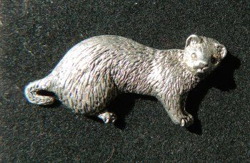 Ferret pewter pin badge