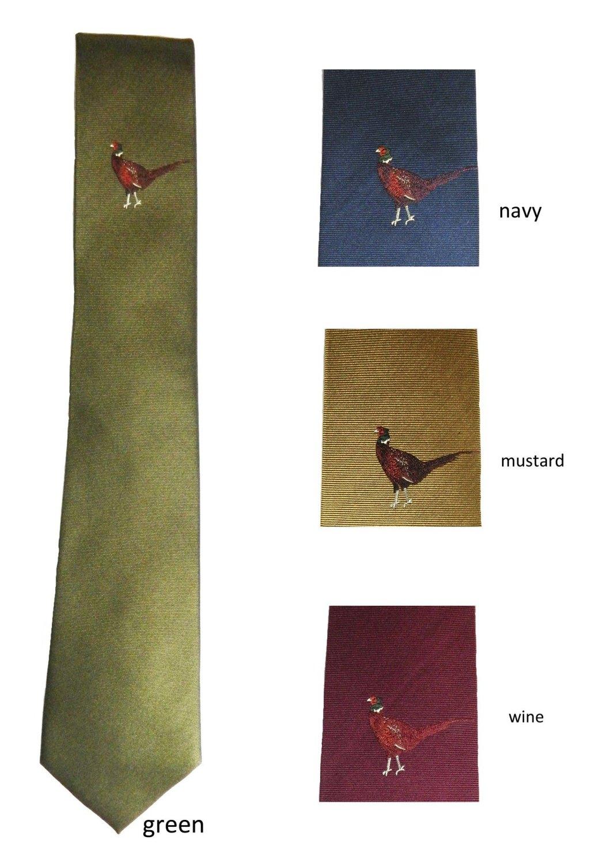 Single pheasant motif silk tie