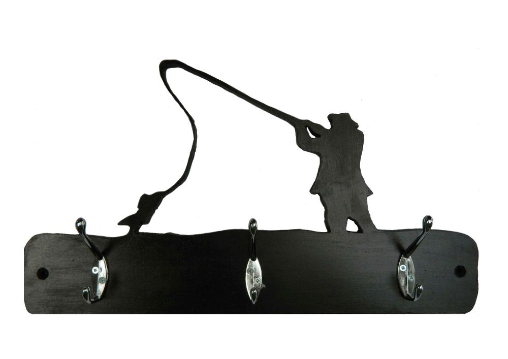 Fishing theme hat and coat hook rack