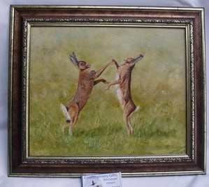 Boxing Hares, oil painting
