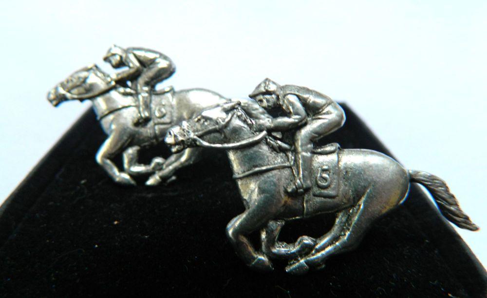 Horse Racing pewter cufflinks