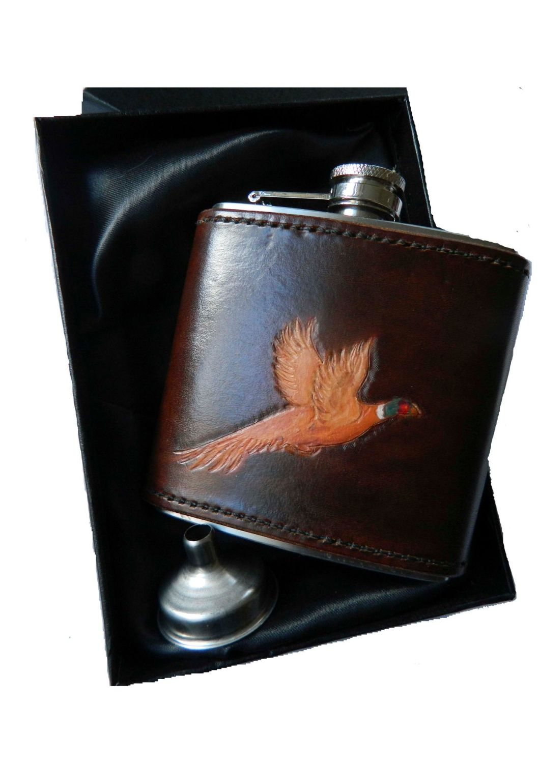 New Product Leather bound hip flask Pheasant