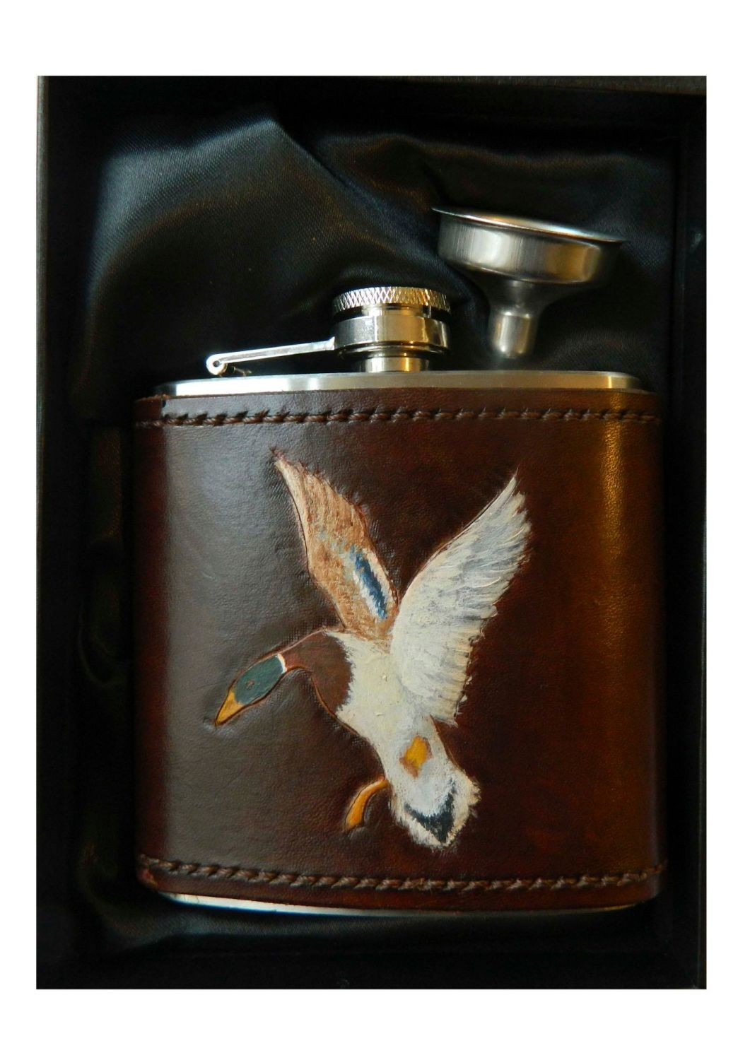 New Product Leather bound hip flask Duck