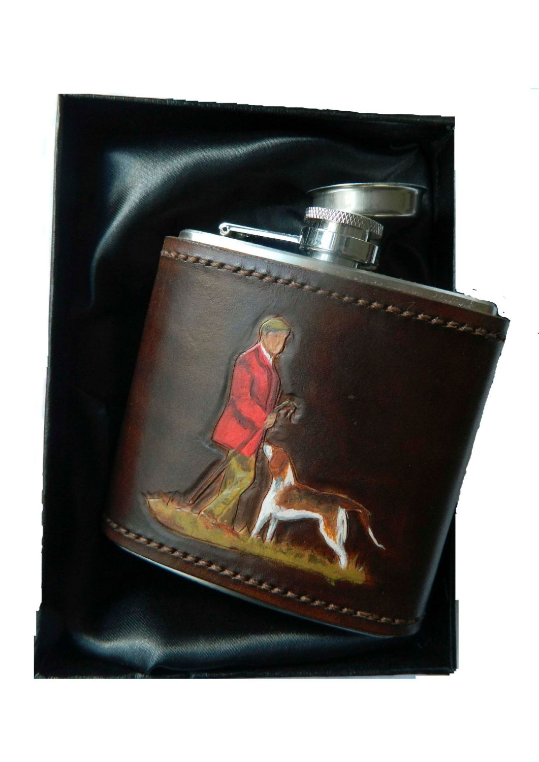 New Product Leather bound hip flask Huntsman