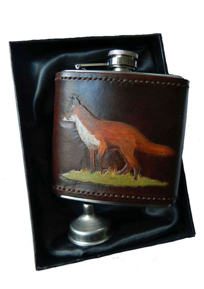 New Product Leather bound hip flask Fox