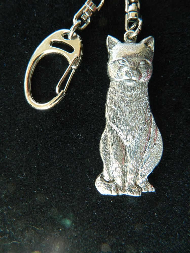 Cat pewter key fob