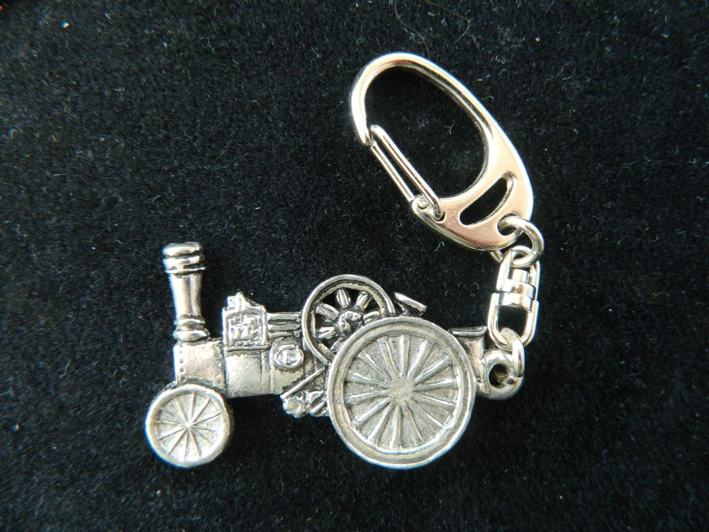 Traction engine pewter key fob
