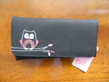 Ladies purse, black, owl design