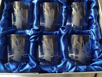 Roe buck, set of six glasses