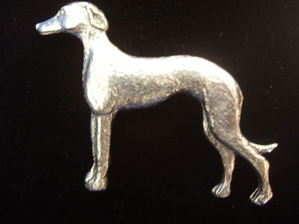 Lurcher pewter pin badge
