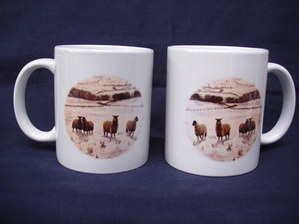 Sheep in the snow ----mug