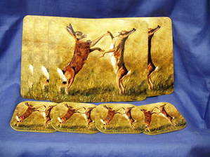 Boxing Hares, set of four placemats