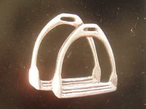 Stirrup Irons --pewter pin badge