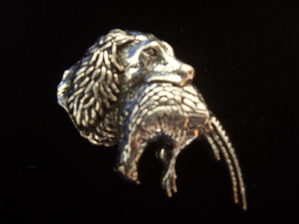 Pewter pin badge -- Spaniel with pheasant