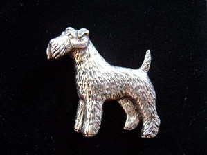 Pewter pin badge -- Fox Terrier