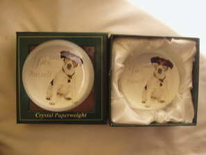 Jack russells crystal paper weight