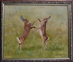 boxing hares oil painting