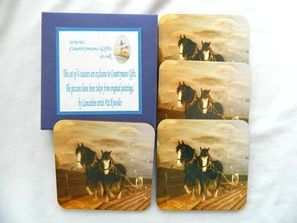 Shire horses ploughing, coasters