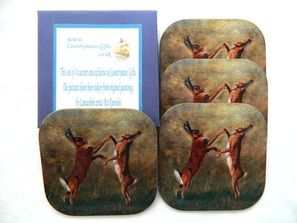 Boxing Hares, Coaster set