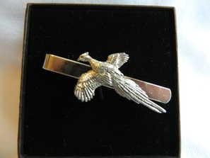 Flying pheasant, pewter tie slide