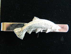 Salmon pewter tie slide