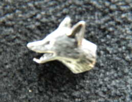 Fox head pewter pin badge