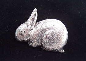Rabbit pewter pin badge